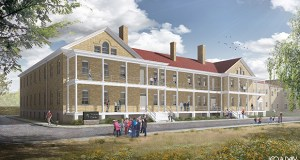 The Minnesota Historical Society recently brought Leo A Daly and Mortenson Construction on board to design and build this proposed $46.5 million visitor center at Historic Fort Snelling. (Submitted rendering: Leo A Daly/Minnesota Historical Society)