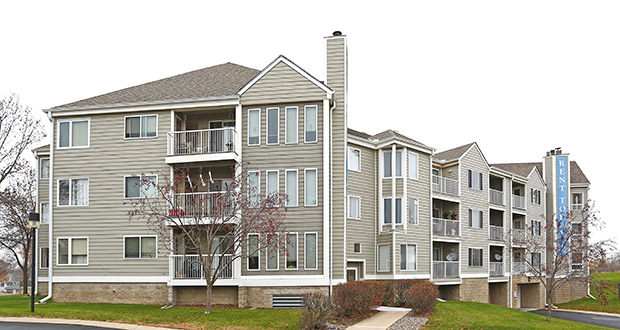 The 290-unit Bristol Village Apartments at 7301 Bristol Village Drive in Bloomington was built in 1988 by Plymouth-based Dominium's founding partners. (Submitted photo: CoStar)