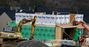 Construction is underway March 1 on a new home in Zelienople, Pennsylvania. Single-family home construction starts increased 6.5 percent in February, the Commerce Department reported Thursday. (AP Photo: Keith Srakocic)