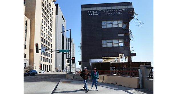 Demolition of the former West Publishing and Ramsey County Government Center complex is nearly finished. This small corner of the complex at the intersection of Kellogg Boulevard and Market Street in St. Paul is all that remains. (Staff Photo: Bill Klotz)