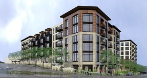 Trammell Crow's proposal for an old Edina school bus garage site at 5150 and 5220 Eden Ave. would include walk-up apartments and a pool deck. (Submitted illustration: ESG Architects)