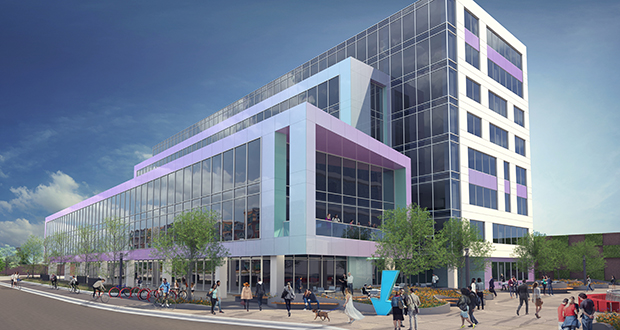 Glass and tile finish the exterior of the latest design of the Ackerberg Group's MoZaic East building, which will rise on a surface parking lot at 2900 Freemont Ave. S. in Minneapolis' Uptown area. (Submitted illustration: Opus Group)