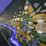 This wall off of the building's main lobby lists the private donors to Cornerstone Creek.