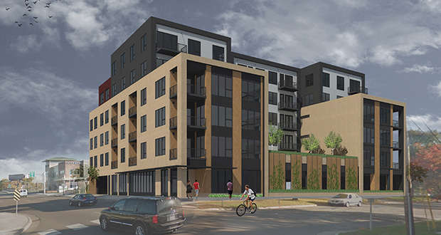 Forest Lake-based Gaughan Cos. hired Minneapolis-based BKV Group to design this 60-unit luxury apartment building to replace two small buildings Gaughan has acquired at 304 Snelling Ave. N. in St. Paul.  (Submitted rendering)