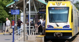 The Bottineau LRT route will expand the Blue Line from downtown Minneapolis to Brooklyn Park. This photo shows passengers boarding a Blue Line train at the line's VA Medical Center Station at 5504 Minnehaha Ave. in Minneapolis. (File photo: Bill Klotz)