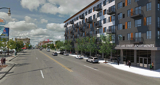 Lupe Development Partners has proposed a 128-unit apartment building at 510 Lake St. W. in the Lyn-Lake area of Minneapolis. The apartments will be affordable to those making 50 to 60 percent of the area median income. (Submitted rendering: ESG Architects)
