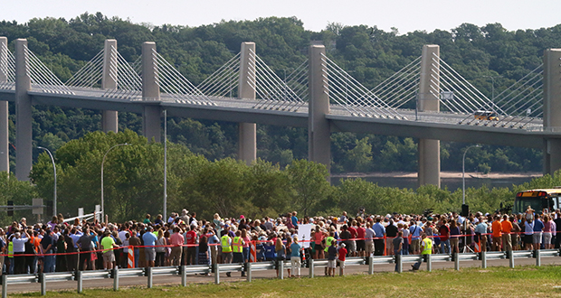 The mile-long St. Croix Crossing bridge features an unusual extradosed design, an amalgam of concrete box girder and cable-stayed design elements. The bridge is to open to traffic at 8 p.m. Wednesday. (Staff photo: Bill Klotz)