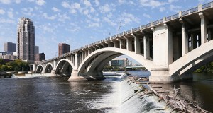 The Minnesota Department of Transportation is making plans for a $60 million to $90 million rehab of this concrete arch bridge, which carries Third Avenue over the Mississippi River in downtown Minneapolis. (Staff photo: Bill Klotz)
