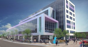 The future glass and tile MoZaic East building at 2900 Fremont Ave. S. in Minneapolis' Uptown area will be ready for tenants at the end of 2018, a little more than a year after the start of construction in early August. (Submitted illustration: Opus Group)