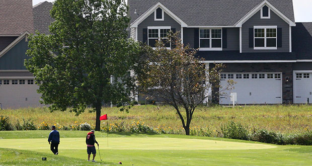 Dayton-based developer Tom Dehn wants to build up to 670 housing units during the next 10 years on a site that includes a portion of this Sundance Golf Course, 15240 113th Ave. N. in Dayton. Homes from the Sundance Woods development overlook the golf course. (Staff photo: Bill Klotz)