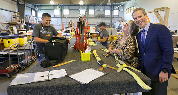 BRS Aerospace CEO Fernando de Caralt (right) sees promise for the company, which makes whole-aircraft parachute systems for small planes in a facility at the South St. Paul Municipal Airport (above) and in Pinebluff, North Carolina. (Staff photo: Bill Klotz)