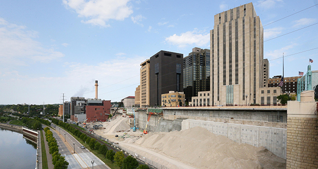 The former West Publishing site on the Mississippi riverfront in downtown St. Paul used to be home to six buildings and a Ramsey County jail. The only developer interested in the site has backed out of the plan. (Staff photo: Bill Klotz)