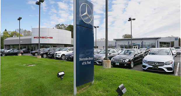 Morrie's Automotive Group is now the owner of a Mercedes-Benz dealership at 2780 Maplewood Drive N. in Maplewood, which was previously owned by the Pohlad family-backed Carousel Motor Group of Minneapolis. Morrie's is buying or building six new dealerships in the hopes of capturing more of the upscale market. (Staff photo: Bill Klotz)