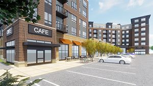 Current plans for Elevate inEden Prairie call for 222 units of market-rate and affordable housing, along with commercial space, an outdoor plaza, public art and connections to the regional trail system. (Submitted illustration)