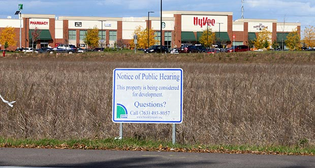 Ryan Cos. US Inc. plans to build four new retail buildings on a 10-acre site at 9301 Zane Ave. N. in Brooklyn Park. The site is south of a Hy-Vee grocery store, another Ryan development that opened in July 2016. (Staff photo: Bill Klotz)