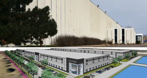 Minneapolis-based Meritex is preparing to raze a 360,000-square-foot industrial building at 2470 Highcrest Road in Roseville to make way for two new speculative structures called Highcrest II and III. Each building will offer 144,000 square feet of space, with 32-foot high ceilings. (Staff photo: Bill Klotz/Submitted rendering)