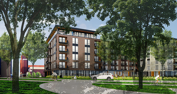 The six-story North Loop apartment building proposed by Opus will offer a mix of studios and one- and two-bedroom apartments and perks including a rooftop terrace, fitness room, pool and spa. The biggest perks are the green space and connection to the river, the developer said. (Submitted image: ESG)