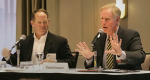 """The Minnesota Commercial Real Estate Women invited Tom Shaver (left), a partner with Inland Development Partners, and Todd Hanson, senior director in industrial leasing at Cushman & Wakefield, to discuss """"TCAAP to Rice Creek Commons: The Evolution."""" (Staff photo: Bill Klotz)"""