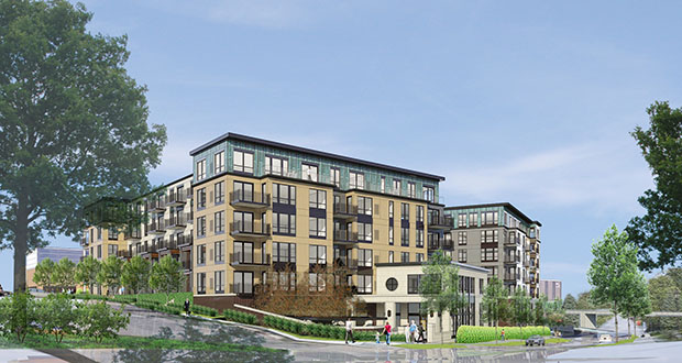 The new apartment building will have 165 units, 10 percent of which will rent at affordable rates. Rents will range from $800 a month on the low end to $4,000 a month for a penthouse unit. (Submitted Image: Trammell Crow Co.)