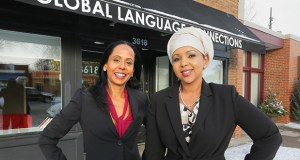 Priya Morioka, left, and Khadija Ali will share the Emerging Woman Business Owner of the Year award for their leadership of Global Language Connections, an interpreter and staffing-service provider located at 3618 E. Lake St. in Minneapolis. (Staff photo: Bill Klotz)