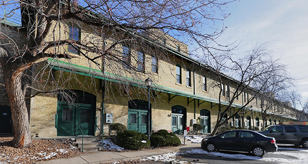 The building containing the Riverwalk Townhomes and Flats, at 50 N. Fourth Ave. in the North Loop of Minneapolis, was converted from a former freighthouse in the 1980s. (Staff photo: Bill Klotz)