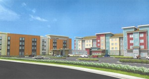 "TPI hopes to begin construction later in 2018 on this 180-room ""dual-branded"" hotel within the Doran Cos.' Village Arbor Lakes mixed-use development in Maple Grove. (Submitted rendering: Ramaker & Associates)"