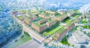 """This preliminary rendering illustrates the potential for development in Edina's proposed Grandview Green """"lid"""" over Highway 100. (Submitted rendering: City of Edina)"""