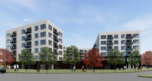 Trammell Crow Co. will build an amenity deck and a park into its High Street Residential project for the age 55-plus demographic. The project is expected to rise on part of the parking lot in front of Ridgedale Center's J.C. Penney store in Minnetonka. (Submitted rendering: ESG Architects)
