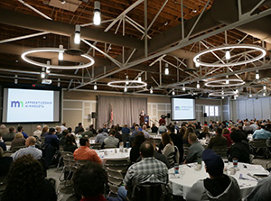 """About 450 people attended Minnesota's first Apprenticeship Summit, where state officials, industry advocates and employers touted the benefits of """"earn while you learn"""" programs to develop the next generation of skilled employees. (Staff photo: Bill Klotz)"""