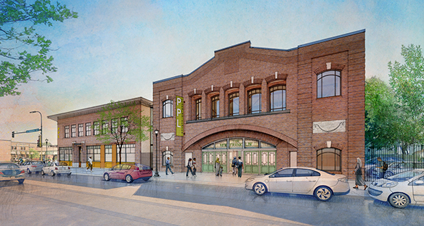 Project for Pride in Living will more than double its job training space when this project is completed this fall. The project will renovate the Franklin Theater, 1021 E. Franklin Ave. in Minneapolis, and link it to PPL's existing headquarters. (Submitted rendering: Creative Media Illustration Inc.)