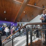 Minnesota Vikings Chief Operating Officer Kevin Warren speaking in the main lobby of the team's new headquarters. (Staff photo: Bill Klotz)