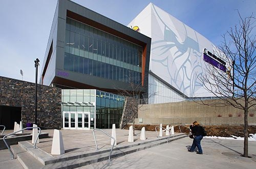The Minnesota Vikings are settling into this new 277,000-square-foot headquarters and practice facility in Eagan. The building anchors a 200-acre campus at Dodd Road and Lone Oak Parkway. (Staff photo: Bill Klotz)