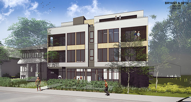An Edina developer wants to build a 41-unit apartment building on the site of a one-story office building at 3612 Bryant Ave. S. in the East Harriet neighborhood of Minneapolis. (Submitted illustration: Collage Architects)