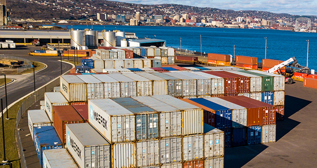 Duluth Cargo Connect, a partnership between Duluth Seaway Port Authority and Lake Superior Warehousing, has already led to an intermodal terminal that processes about 225 shipping containers per month. (Submitted photo: Northern Images Photography/courtesy Duluth Cargo Connect)