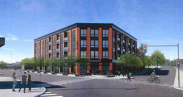 Developer Ted Carlson's planned development would bring 52 apartment units and 6,400 square feet of retail to an underused 1-acre site at 4500 France Ave. S. in Edina. (Submitted rendering: ESG)