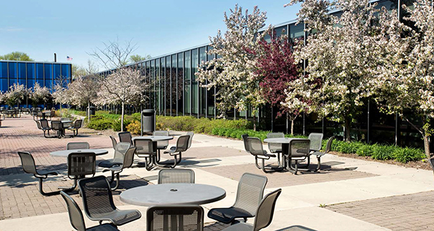 Among the many blue buildings are spaces for IBM employees and others to take a break outdoors in Rochester, Minnesota. Rochester Technology Campus is the new name of the former IBM campus. (Submitted image: Industrial Realty Group)