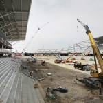 Structural steel and concrete work is nearly complete on the stadium. (Staff photo: Bill Klotz)