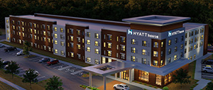The JR Hospitality project in the southeast quadrant of Old Shakopee Road East and Killebrew Drive would be the first Hyatt House extended-stay hotel in Minnesota. (Submitted image: Base 4)