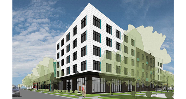 The new hotel and apartment buildings North Bay Cos. is planning at 620 Ninth St. SE in the Marcy-Holmes neighborhood in Minneapolis will be part of a complex that includes office space. (Submitted illustration: DJR Architects)