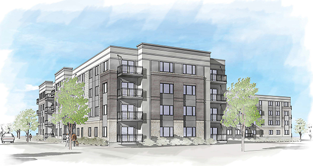 Sherman Associates is proposing to build 248 apartments in a mixed-income complex at 6050 Main St. NE, next to the Northstar commuter line's Fridley Station. (Submitted rendering)
