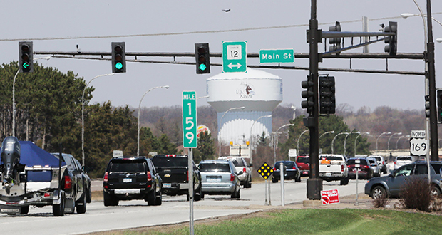 A Minnesota Department of Transportation project to convert Highway 169 in Elk River into a freeway will include constructing interchanges at this Main Street intersection and three other intersections. (Staff photo: Bill Klotz)