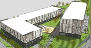 """The Hook & Ladder apartments planned for 2212, 2316 and 2320 Jefferson St. NE in Minneapolis will have one conventional apartment building and another built to """"passive house"""" energy standards. (Submitted image: LHB Architects)"""