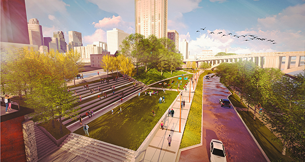 The plan for the Water Works stretch of river — from the Crown Roller building near Fifth Avenue South to the Third Street Bridge — includes outdoor gathering spaces, city steps, a rooftop patio, seating plaza and lawn overlooking the river. (Submitted rendering)
