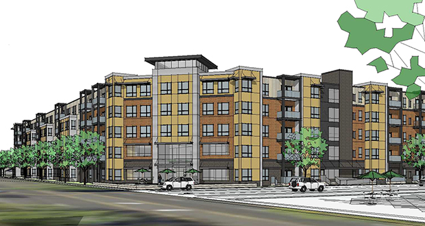 Minneapolis-based J.A. Wedum Foundation and its development consultant, Essential Decisions of Roseville, hope to break ground this fall on this 160-unit senior housing project at 900 Albion Ave. in St. Paul's Highland Park neighborhood. (Submitted rendering: Pope Architects)