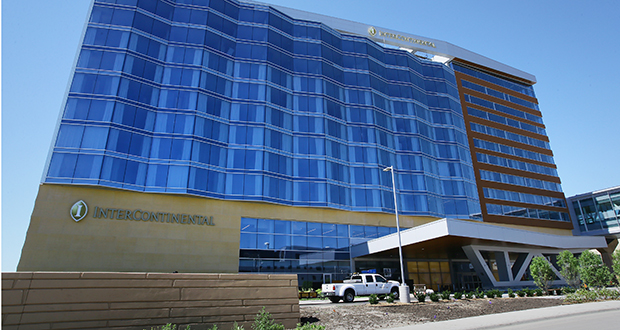 The exterior glass on the new Graves Intercontinental Hotel at the Minneapolis-St. Paul International Airport is specially designed to keep the noise out. The hotel is nearing completion at 5005 Glumack Drive on the airport campus. (Staff photo: Bill Klotz)