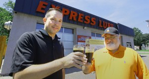 Jason Heger, left, and Eric Swann have launched a crowdfunding campaign in the hopes of opening Kulturwerks Brewing in a vacant building that once was an oil-change shop at 3113 Fairview Ave. N. in Roseville. (Staff photo: Bill Klotz)