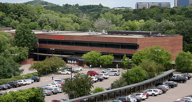 Supervalu representatives say it's too early to say what will become of the company's Minnesota properties, including this corporate headquarters at 11840 Valley View Drive in Eden Prairie. The company has been acquired by Rhode Island-based United Natural Foods Inc. (Staff photo: Bill Klotz)