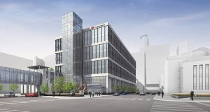 Thrivent's new eight-story, 350,000-square-foot headquarters will include skyway connections that will link the Hennepin County Medical Center with the rest of the downtown Minneapolis network. (Submitted image: HGA)