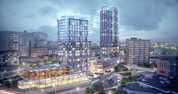 The proposal to build these towers in downtown Rochester includes a number of public amenities, such as improvements to the riverfront walking trail and a public space atop the podium for the two towers. (Submitted rendering)
