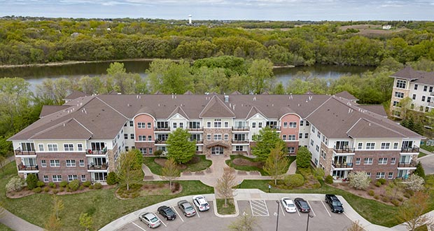 "The Highland Shores apartment complex at 3100 Chestnut Ave. N. in Chaska was in ""mint condition"" at the time of its sale to Hornig Cos. last week, the new owner said. The property is on the shores of Lake Jonathan. (Submitted photo: Michel Commercial)"